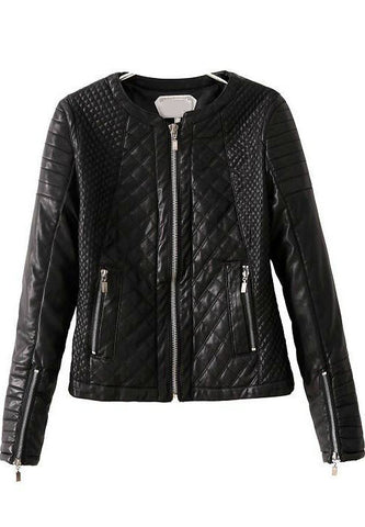 Black Long Sleeve Diamond Pattern PU Jacket