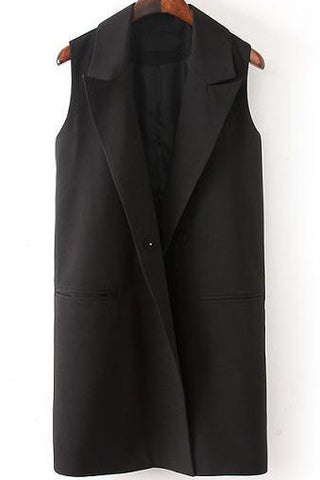 Black Lapel Sleeveless Pockets Blazer