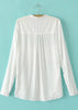 White Long Sleeve Pockets Loose Blouse