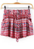 Red Drawstring Waist Tribal Print Shorts