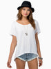 White Short Sleeve Falling Behind Tunic Top