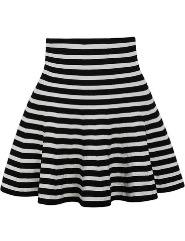 Black White Striped Ruffle Skirt