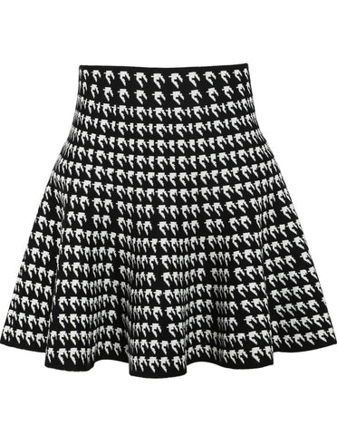 Black White Houndstooth Ruffle Skirt