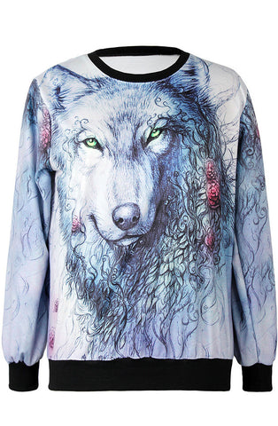 Blue Long Sleeve Wolf Print Loose Sweatshirt