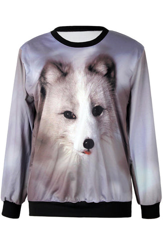 Grey Long Sleeve Dog Print Loose Sweatshirt