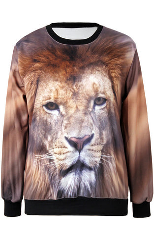 Brown Long Sleeve Lion Print Loose Sweatshirt