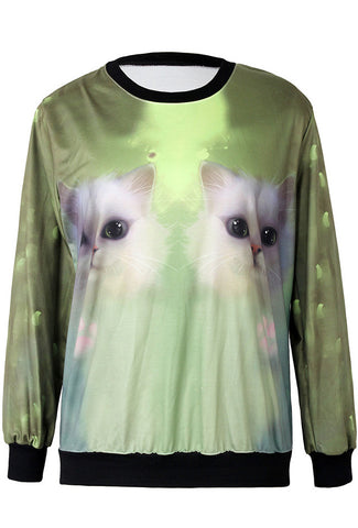 Green Long Sleeve Cats Print Loose Sweatshirt
