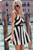 Black White Striped Cut Out Flare Dress