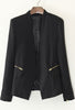 Black V Neck Long Sleeve Zipper Pockets Blazer