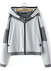 Grey Hooded Long Sleeve Pockets Jacket
