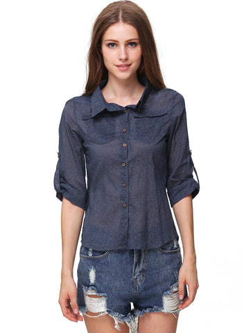 Blue Lapel Pockets Embellished Slim Blouse
