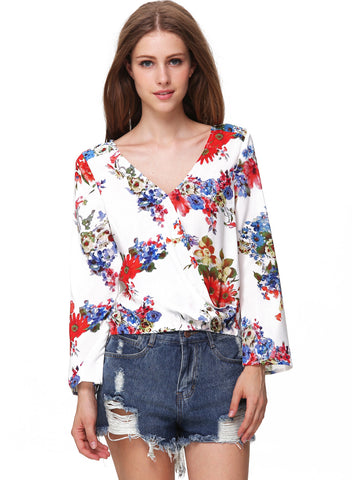 White V Neck Long Sleeve Floral Chiffon Blouse