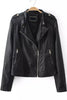 Black Long Sleeve Zipper Epaulet Crop Jacket