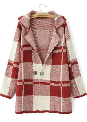 Red Lapel Long Sleeve Plaid Outerwear
