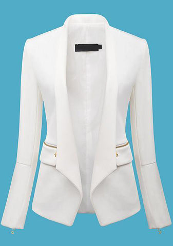 White Long Sleeve Zipper Fitted Blazer