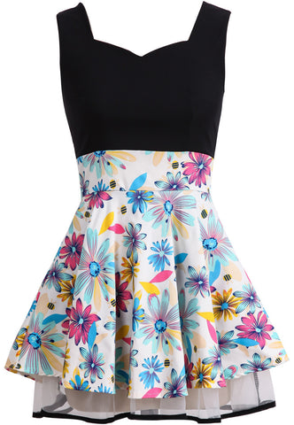 Black Sleeveless Backless Floral Flare Dress