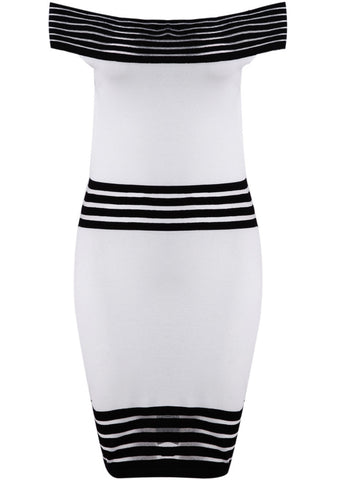 White Off the Shoulder Striped Bodycon Dress