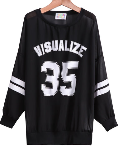 Black Long Sleeve 35 VISUALIZE Print Sweatshirt