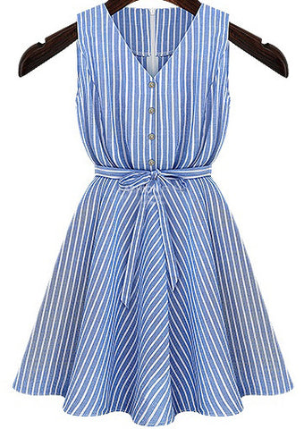 Blue V Neck Long Sleeve Belt Striped Dress