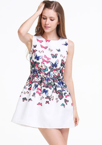 White Round Neck Sleeveless Butterfly Print Dress