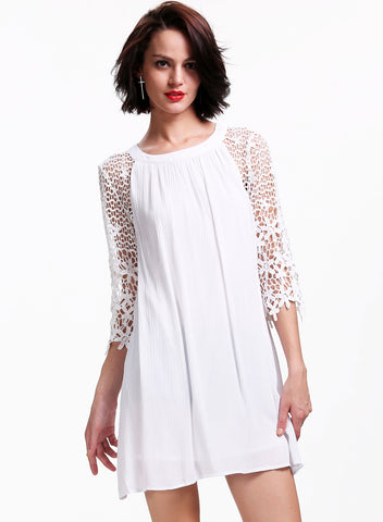White Floral Crochet Hollow Half Sleeve Loose Dress