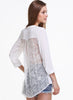 White Long Sleeve Contrast Lace Pocket Blouse