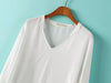 White V Neck Long Sleeve Dipped Hem Blouse