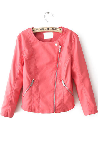 Red Long Sleeve Oblique Zipper Pockets Jacket