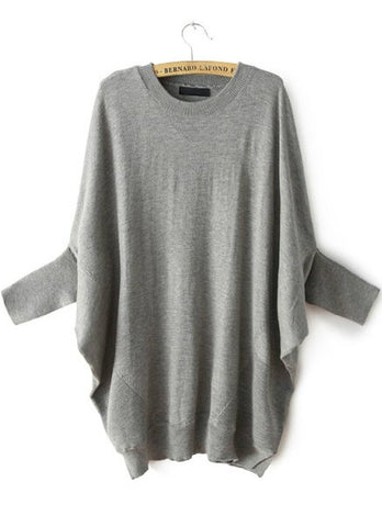 Grey Batwing Sleeve Loose Knit Sweater