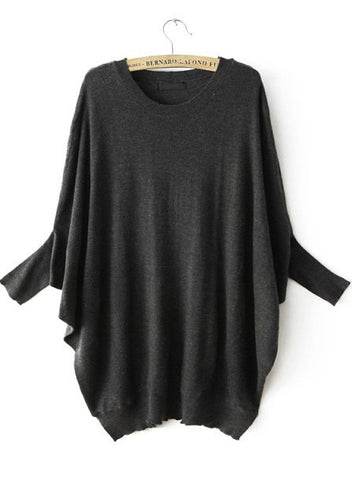Dark Grey Batwing Sleeve Loose Knit Sweater