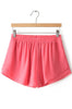 Red Elastic Waist Chiffon Shorts