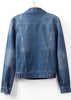 Blue Lapel Long Sleeve Bleached Denim Jacket