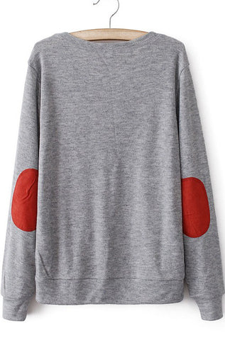 Grey Long Sleeve Elbow Patch Knit Sweater
