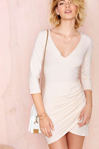White V Neck Slim Bodycon Dress