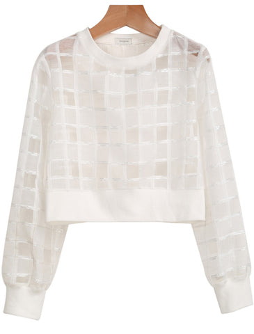 White Long Sleeve Sheer Plaid Crop Blouse