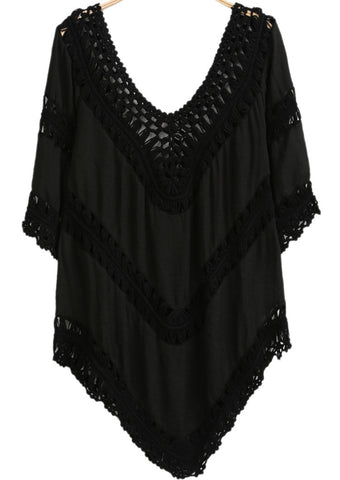 Black Half Sleeve Floral Crochet Loose Blouse