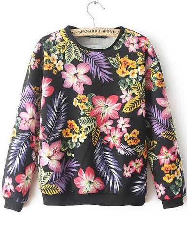 Black Long Sleeve Floral Loose Sweatshirt