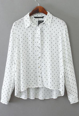 White Lapel Long Sleeve Anchors Print Blouse