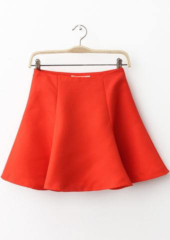 Red High Waist Flare Skirt
