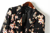 Black Notch Lapel Long Sleeve Floral Fitted Blazer