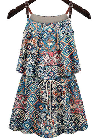Blue Spaghetti Strap Geometric Print Dress