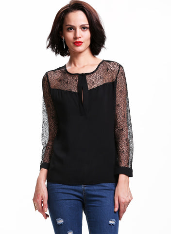 Black Contrast Sheer Lace Placket Front Blouse