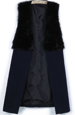 Black Contrast Fur Sleeveless Split Coat