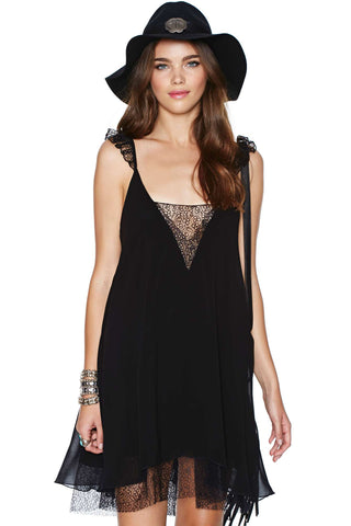 Black Lace Spaghetti Strap Backless Shift Dress