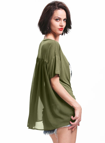 Green V Neck Short Sleeve Contrast Sheer T-Shirt