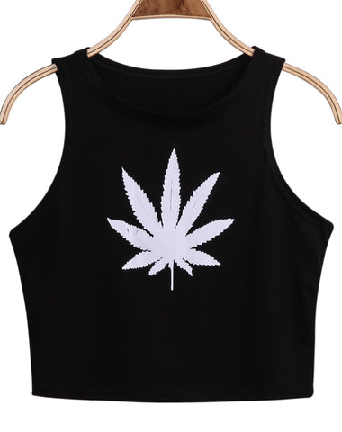 Black Sleeveless Maple Leaf Print Crop Vest
