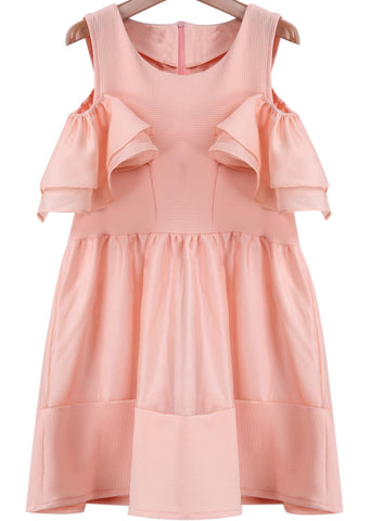 Pink Off the Shoulder Ruffle Organza Dress