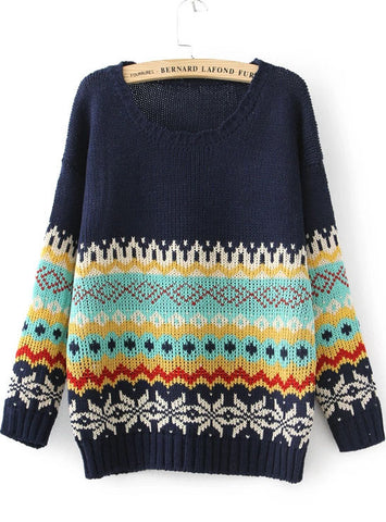 Navy Long Sleeve Vintage Floral Sweater