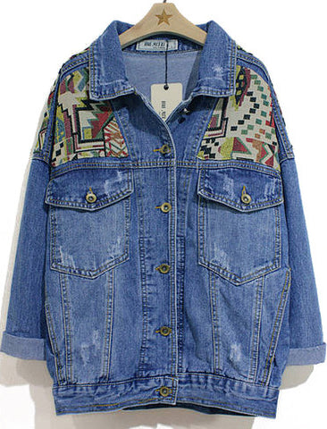 Blue Lapel Long Sleeve Geometric Pattern Denim Jacket