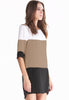 White Coffee Black Color Block Dress